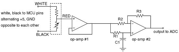 three wire strain gauge dual op-amp amplifier schematic