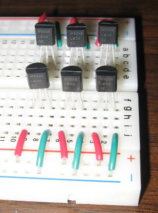 six LM34DZ sensors