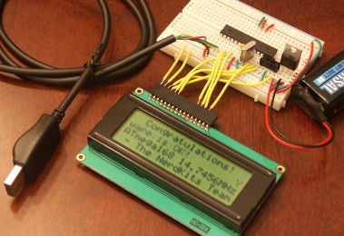 The USB NerdKit helps you get started learning electronics with an LCD, microcontroller, breadboard, and much more!