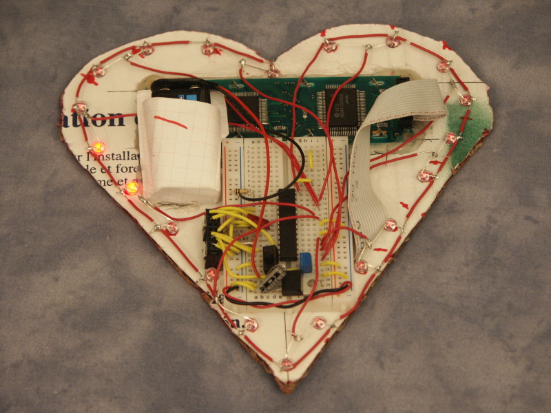 Nerdkits diy led heart for valentines day back view of the led heart solutioingenieria Images